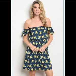 A Girl Thing Dresses - Navy Floral Off the Shoulder Dress